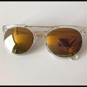 0f62503c5f Wonderland Sunglasses Clear Frame Gold Lenses